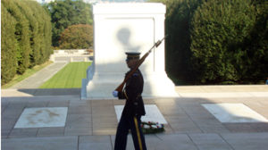 The Honor Guard at the Tomb of the Unknown Soldiers at Arlington National Cemetery.