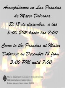 Come to the Posadas at Mater Dolorosa on December 18 from 3:00 PM until 7:00