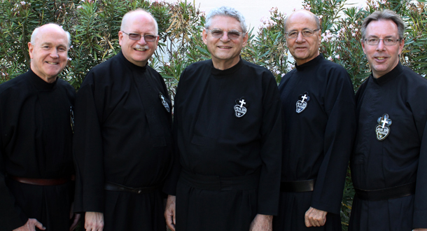 <em>Holy Cross Province Provincial and Council: (l-r): Fr. Alex Steinmiller, CP, Fr. Phil Paxton, CP,<br>Fr. Joe Moons, CP, Provincial Superior; Fr. Jim Strommer, CP, and Fr. David Colhour, CP.</em>