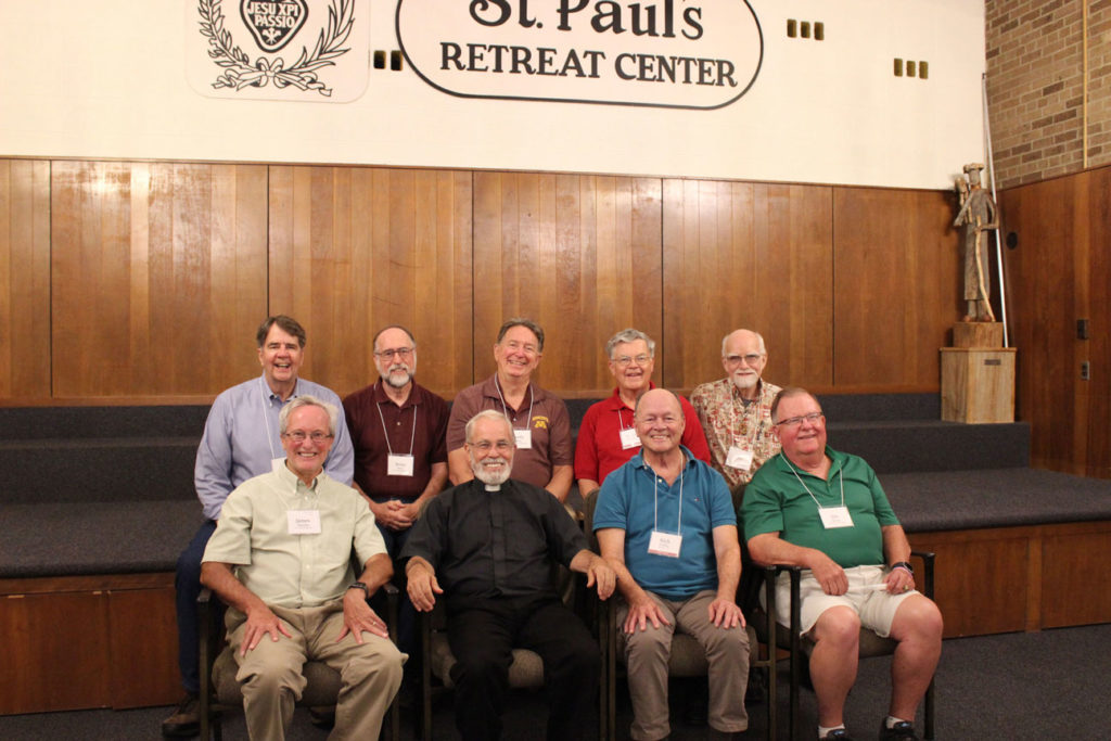 Warrenton Class of '67: Front row: James Hinrichs, Fr. Bob Knight, Rich Padilla and Jim Byrne.  Back Row: Mike Moll, Brian Power, Randy Drean, Fr. John Schork, CP, and Jim Williams.