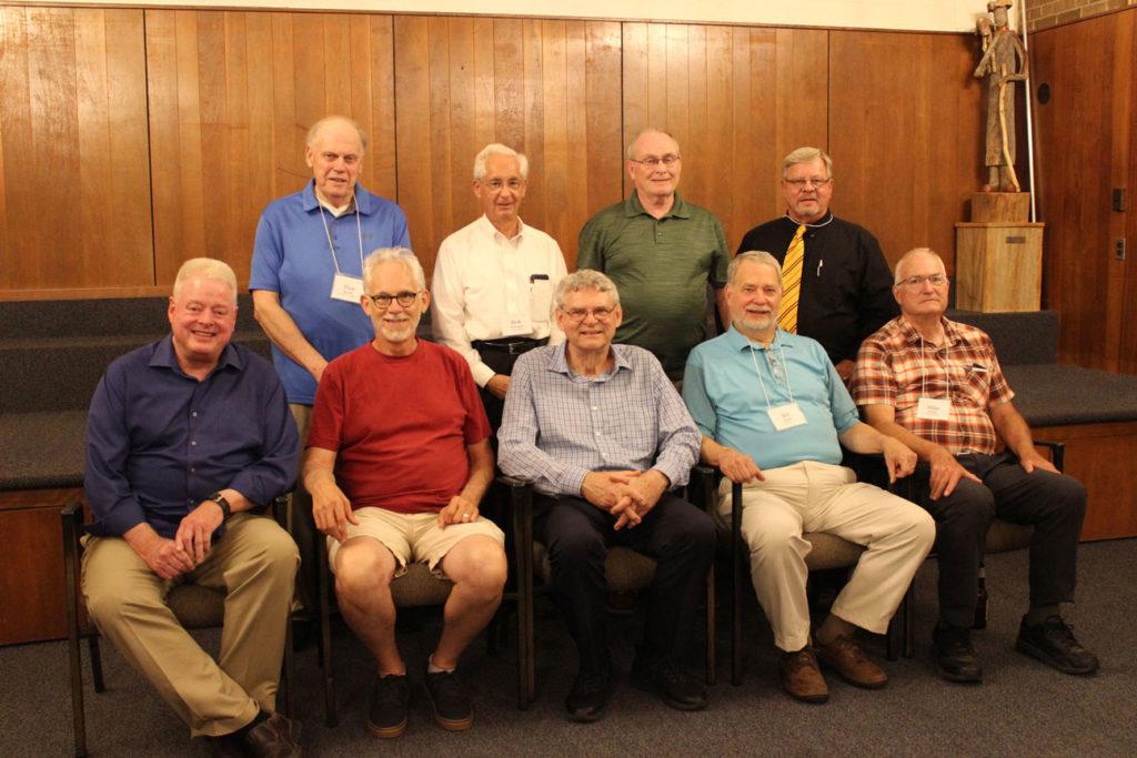 Sitting: Jim Pryma, Michael Mahoney, Fr. Joe Moons, CP, Bill Rybak and Mike Kruger. Standing: Tom McGee, Rick Womack, Ed Cronin and Al Maryan.