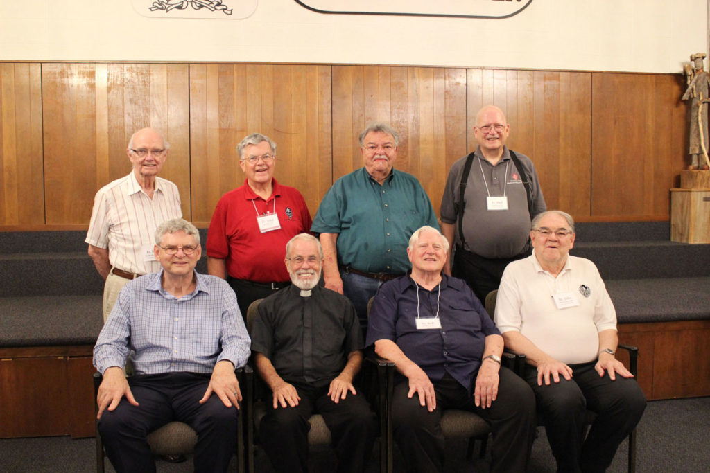 Vowed/ordained religious: Sitting: Fr. Joe Moons, CP; Fr. Bob Knight; Fr. Bob Weiss, CP; Br. John Monzyk, CP. Standing: Fr. Ken O'Malley, CP; Fr. John Schork, CP; Deacon Jim Griffith, CP; and Fr. Phil Paxton, CP.