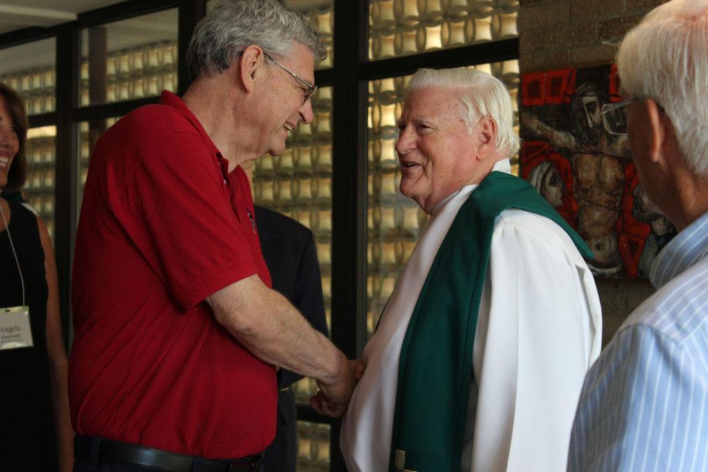 Fr. Joe Moons, CP, and Fr. Bob Weiss, CP, after Mass.
