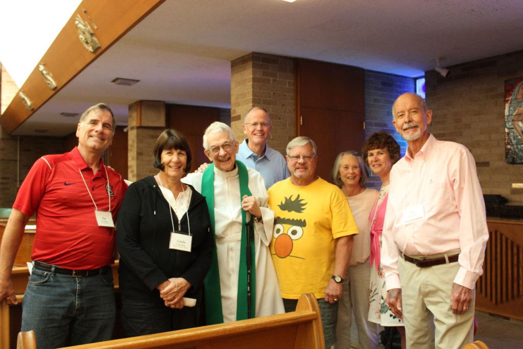 (l-r): Pat Brueggen, Linda Crimmins, Fr. Peter Berendt, CP; Bill Crimmins, Al Maryan, Susan Noltemeyer, Darienne Brueggen and Don Noltemeyer.