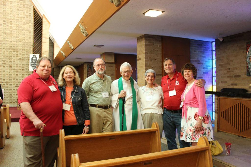 Ray Alonzo, Jan Alonzo, Brian Power, Fr. Peter Berendt, CP; Vickie Power, Pat Brueggen and Darienne Brueggen.