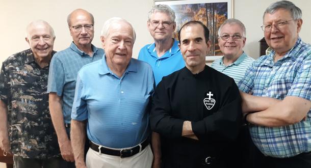The Christ the King Community: (l-r): Fr. Blaise Czaja, CP; Fr. Jim Strommer, CP; Br. Carl Hund, CP; Fr. Joe Moons, CP; Br. Nicholas Divine, CP; Fr. Jack Conley, CP; and Fr. E. John Hilgert, CP.